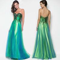 Free Shipping sleeveless off the Shoulder Beading Print Satin Formal Evening Dress Long Celebrity Dresses