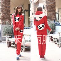 2014 Winter new Women Polka Dot Panda thick fleece hooded three-piece sports