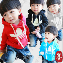 Free shipping! 2014 new winter children plus thick velvet hooded sweater pullover.(China (Mainland))