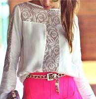 Tees 2014 autumn -summer women new fashion shirt casual chiffon patchwork lace slash neck long sleeve female autumn forward top