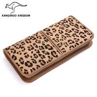 2014 women's genuine leather wallet leopard print clip design cowhide short wallet multi card holder day clutch
