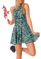 EAST KNITTING Fashion BL-546 2014 Women Casual Digital Print Pleated Dress CHRISTMAS TREE Reversible Skater Dress Plus Size