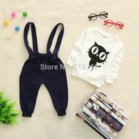 New 2014 Fall newborn Baby Set 100% cotton Cartoon Print Hoodie+ Pant Twinset Velour girl boy Baby Clothing Sets Free shipping
