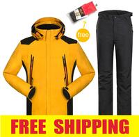 men winter waterproof windproof hiking camping outdoor  jacket pants ski suit set coat clothes cotton outerwear snowboard parka