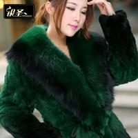 Silver Saint Rex Rabbit Fur fox fur coat in a long paragraph 2014 female special new winter clearance