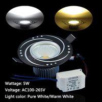 5pcs/lot 5W Panel lights Ceiling Down Light LED COB 450lm Pure White/Warm White Round 100-265V LEDTD095+96 Black