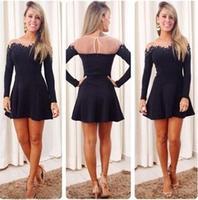 Wholesale quality elegant winter casual dresses women 2014 autumn patchwork sexy mesh lace cotton dress clubwear black