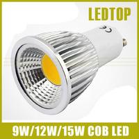10PCS GU10 CREE Dimmable LED 9w/12w/15w High power led COB Spotlight 85-265V warm/cool white replace 30w/50w/70w Halogen Lamp