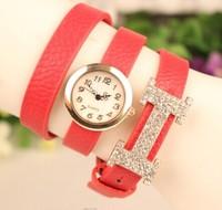 2014 New Fashion Women Rhinestone Leather Quartz Dress Luxury Watches Women Ladies Casual Wristwatch relogio