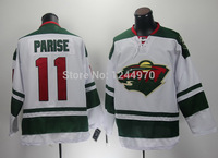 Men's Minnesota Wild Hockey Jerseys 2014 New Road White 11 Zach Parise Jersey Cheap Green Authentic Stitched Jersey