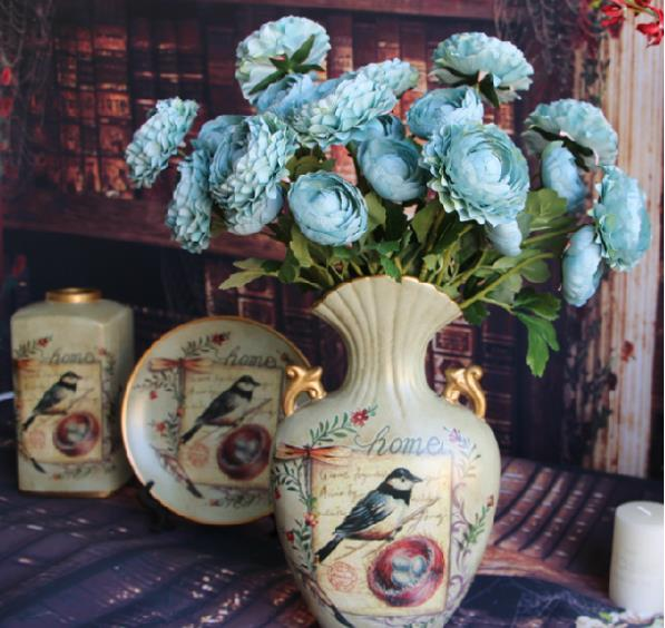 Free shipping Europe rose aesthetic wedding artificial flower peony artificial silk home decoration flower dried flowers(China (Mainland))