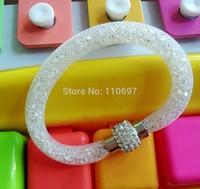 NEW 2014 HOT Whoelsale 12pcs/lot WHITE Fashion Net Resin Rhinestone Women Girls Magnetic Snap Bangle Bracelets