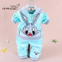 New 2014 Spring Baby Set Velvet Rabbit Cartoon Print Hoodie+ Pant Twinset Long Sleeve Velour Baby Clothing Sets Free shipping