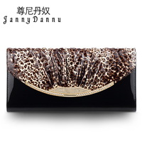 Johnny rocket leopard print female day clutch fashion clutch cowhide women's handbag 2014 one shoulder small bags