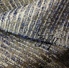 Limited tweed fabric Blue and white silk stripes for clothing double C style coat(China (Mainland))