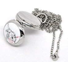 Free shipping Fashion Casual 1PC Silver Tone Necklace Enamel Cupid Quartz Pocket Watch