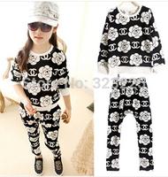 2014 autumn hot sale children fashion CC rose chiffon suit kids top +pants 2pcs/set girls clothing set boys kids clothes