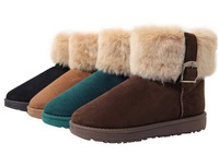 2014 snow Fur boots flat heel casual leather boots roll up hem winter cotton-padded women boots CT011