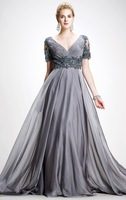 Latest Elegant V-neck V-Back Empire lace appliques with short sleeve important party gowns long Evening Dress 2014 FSL-332