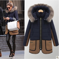 2014 Winter Slim Plus Size With a Hood Thickening Wadded Jacket Medium-long Women's Wool