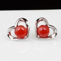 Semi Precious Stone earrings 100% Guaranteed Solid 925 Sterling Silver Stud Earrings With Red Agate Heart Earrings YH1018-1