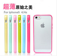 High Quality TPU+PC Transparent edge ultrathin Case Cover For iphone 5 5S soft frame scrub phone protector for iphone 5 5S