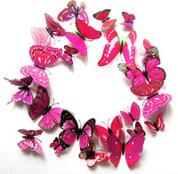 Free shipping hot selling beautiful Plastic butterfly very good decoration