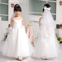 long designer flower girl dress Kids Korean wedding party tutu princess children white birthday cake gown include Veil Gloves