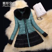 2014 new sheep skin leather female fox Rex rabbit hair long down jacket