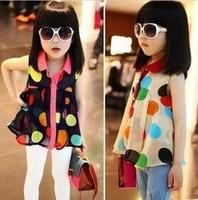 Retail, 2014 Girls Polka Dot Fashion Sleeveless Shirts  in Summer, Girls Fashion Chiffon Shirts, Girls Blouses, Freeshipping