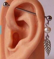 PE0020 free shipping 10pc/lot stainless steel industrial bar  vintage leaf pierced pearl ear jewelry