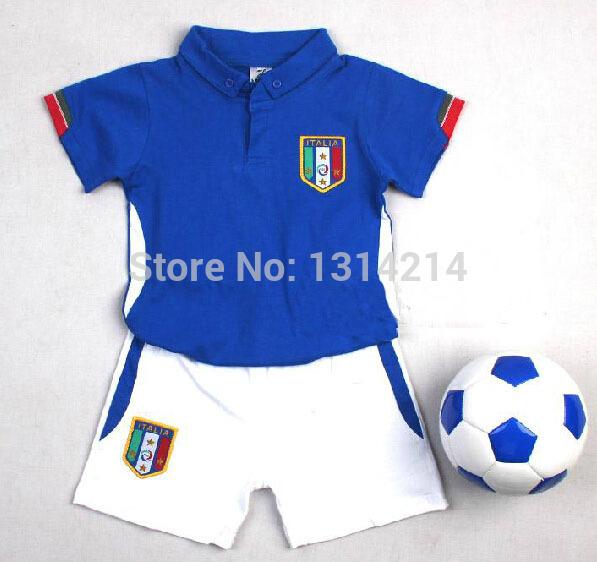 0-6 ages Baby Cotton soccer jerseys uniforms kids jerseys,100% Cotton Italia #21 PIRLO #9 football shirts sportswear Custom name(China (Mainland))