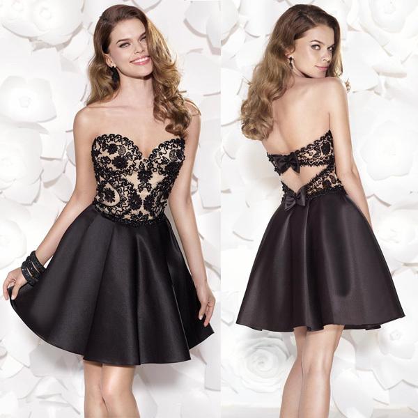 preto sexy namorada uma- linha rendas appliqued vestido de coquetel de cetim vestido curto hb423 social(China (Mainland))