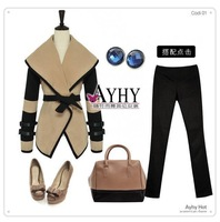 Hot New England-style 2014 Victoria Blazer women's jackets cape coat/fashion lapel personality big winter coat women overcoat