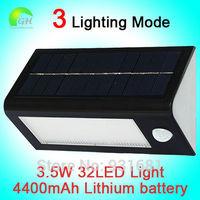 Free Shipping Waterproof 3 Lighting Mode Solar Powered Outdoor 32LED Wall Garden Path Solar Motion Sensor PIR Light