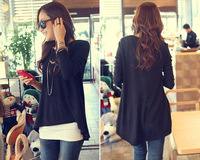 New Ladies Loose Tops Asymmetry Hem Long Sleeve Autumn T shirts 2014 Fashion Free Size Casual Women Cotton Blend Blouse AY657194
