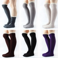 Free Shipping Womens Fashion Winter Knit boot cuffs crochet Leg Warmers lace trim  Boot socks