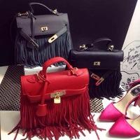 2014 fashion tassels platinum Bag golden head women's handbags Clutch shoulder bag stitching suede fringed bag free shipping