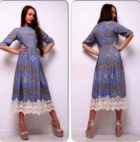 The new autumn and winter 2014 fashion women's clothing women's round neck Sleeve Chiffon Dress Vintage style vestidos