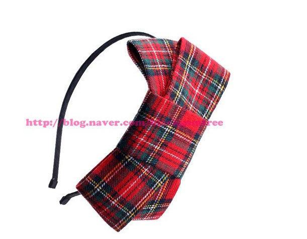 Hot Sale Korean Fashion Plaid Pattern Fabric Hair Bow Hair Band Headband For Women Hair Accessories For Hair Free Shipping(China (Mainland))