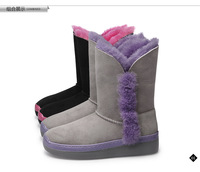 2014 wool snow boots female genuine leather wedges fur one piece boots