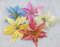 Wholesale For Christmas Tree Garland Rattan Decoration 25cm Sticky Powder High Quality Christmas Flower poinsettia