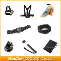 GoPro Accessories Set Remote Wrist Strap + Helmet Extention Kits Mount + Chest Belt Mount + Bobber For Gopro hero2/3/3+/4 SJ4000