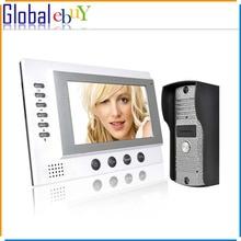 """7 """"Cámara de cable Noche Visual video de la puerta del timbre del teléfono de intercomunicación sistema de seguridad TFT LCD Monitor al aire libre(China (Mainland))"""