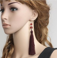 Free shipping,Classical Chinese style brown  longer  tassel earrings