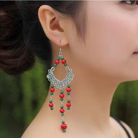 Free shipping,Bohemian style earrings malachite
