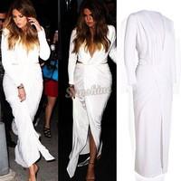 summer dress 2014 Women Dresses Sexy Deep V neck Long Sleeve Dress Women Slim White Party Dresses B19 CB031609