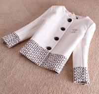 Winter Wool Jacket Coat Women Outerwear Thick Coats Plaid Patchwork Slim Parka Overcoat Plus Size Short Coat