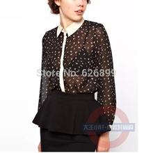 Top Design 2014 Spring Women Chiffon Blouse Hit Color Bird Printed Long Sleeve Lapel Shirt Sexy Translucent Shirt CI61