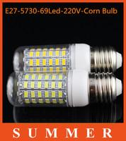 6Ps/lot E27 220V led corn bulb E27 20W 69LED 5730 Warm white /white lamp 5730 SMD crystal chandelier lighting free shipping